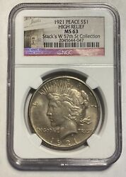 Peace Silver Dollar 1921 P Ngc Ms-63  High Relief