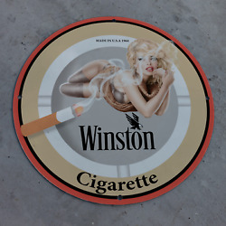 Vintage 1964 Winston Cigarette Manufacturing Company Porcelain Gas And Oil Sign