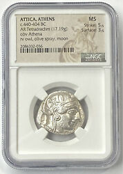 Attica Athens Owl 440-404 Bc Silver Tetradrachm Ngc Ms History In Your Hands