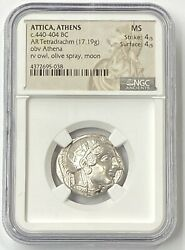 Attica Athens Owl 440-404 Bc Silver Tetradrachm Ngc Ms A Must Buy Example Pq