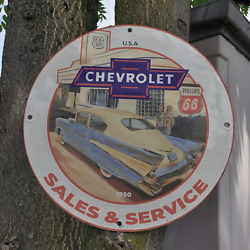 Vintage 1950 ''phillips 66'' Chevrolet Sales And Service Porcelain Gas And Oil Sign
