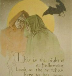 Antique Halloween Postcard Gibson Gothic People In Capes Moon Bat Original 1910