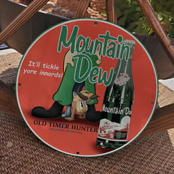 Vintage 1940 Mountain Dew Soda ''the Chewin' Bruin'' Porcelain Gas And Oil Sign
