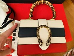 Striped Dionysus Medium Bamboo Top Handle Bag Red White Blue Leather Small