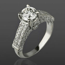 Diamond Ring Round 2.15 Ct 14k White Gold Accented Natural Size 5.5 6.5 7 9