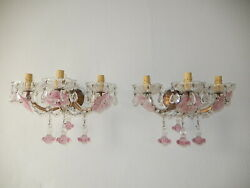 1920 French Pink Fuchsia Murano Flowers And Drops 3 Light Rare Sconces