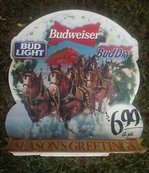 Rare 1993 Clydesdale Horses Budweiser Snowglobe Display Sign Horse Breweriana