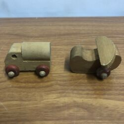 Vintage The Montgomery Schoolhouse Vermont Wooden Toy Tanker Truck And Plane Rare