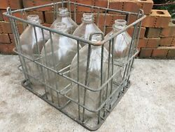 Vintage Milk Crate And Bottles Garden State Farms 7/1960 New Jersey