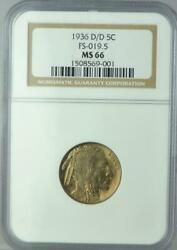 1936 D/d 5c Buffalo Nickel Ngc Ms66 Fs-019.5 Repunched Mintmark