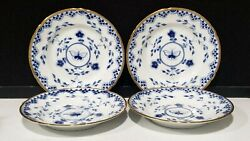 Set Of 4- Bing And Grondahl Denmark Dickens Salad Plates Blue Butterfly Gold Trim