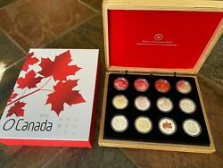 2013 Canadian Mint 10 Fine Silver O Canada - 12 Coin Set With Presentation Case