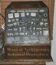 Rare 1905 Beltone Musical Accessories Advertising Wood Cabinet. Nice Shape
