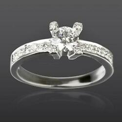 Natural 1.1 Carat Diamond Ring Solitaire And Accents 18 Kt White Gold Women