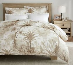 Pottery Barn Palm Toile cotton duvet cover KING Coastal tropical Neutral NEW