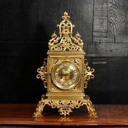 Large Gilt Bronze Antique French Baroque Table Clock The Sea