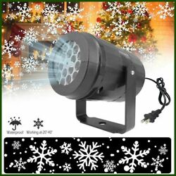 Led Christmas Decor Moving Lights Snow Flake White Projector Home Outdoor Xmas