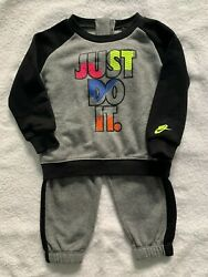 Nike 2pc 7mg985-geh Carbon Heather Baby Suit Unisex Nwb
