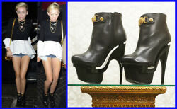 New Versace Triple Platform Black Leather Bootie Boots 35.5-5.5 As Seen On Miley