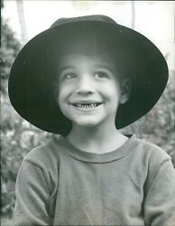 1958 Mrs George Kennedy Young Child Vintage Hat Smiling Missing Teeth Photo 6x8