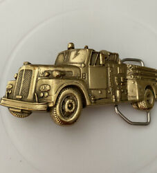 Solid Brass Antique Fire Truck 1978 By Baron Buckles Very Unique Shape Gold