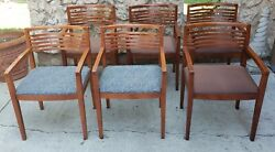 Set Of 6 - Vintage Solid Wood Ricchio Arm Chairs By Knoll 1990and039s
