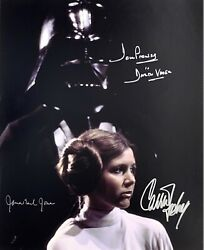 Carrie Fisher James Earl Jones Dave Prowse Signed 11x14 Photo Bas Loa Star Wars