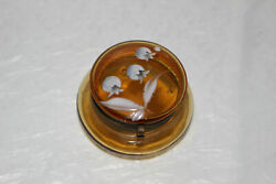 Antique Hand Painted Enamel Amber Glass Hinged Trinket/pill Box/jar-floral-moser