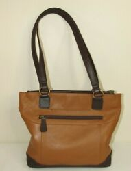 The Vermont Country Store Brown Leather 2-strap Shoulder Bag Purse