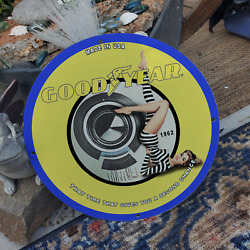 Vintage1962 Goodyear ''tire That Gives You A Second Chance'' Porcelain Oil Sign