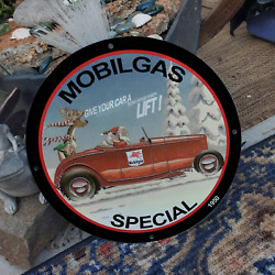 Vintage 1950 Socony-vacuum Mobilgas Christmas Special Porcelain Gas And Oil Sign