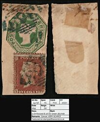 2403 Sg54/56 1s Embossed And 1d C6. Green 363 Irish Cancel. Very Scarce. Candpound4000++