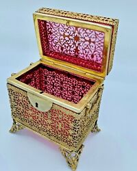 Antique French Ruby Box Casket With Filigree Bronze