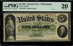 1861 5 Demand Note Fr-2 - Pmg 20 Comment - Serial 73777 Very Fine