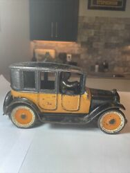 1920's Arcade 9 Inch Yellow Cab Cast Iron Taxi W/ Driver Cast Wheels