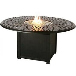 Signature 60 Inch Propane Fire Pit Dining Table By Darlee - Antique Bronze
