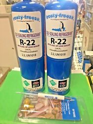 Refrigerant R22 R-22 Two 28 Oz. Cans Pro-seal Xl4 Leak Stop And Malco Tool New