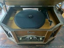 Emerson 4 In 1 Record Turntable/cd/radio/cassette In Wood Nr303/free Shipping