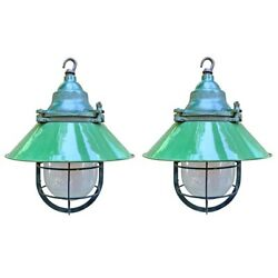Early 20th Century American Industrial Pendant Lights Cast Iron/porcelain