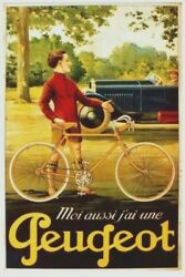 Original Vintage Poster Peugeot Cycles And Automobiles C.1930