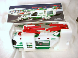 2001 Hess Truck Helicopter With Motorcycle And Cruiser - New