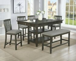 Transitional Gray Finish 6pc Dining Set Storage Table Chair Bench Furniture New