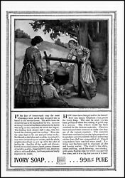 1916 Colonial Women Making Soap Kettle Ivory Soap Vintage Art Print Ad Ads58