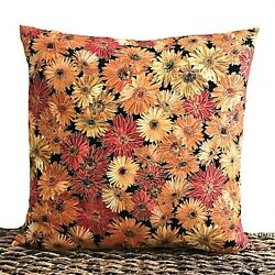 Fall Mums Pillow Cover Floral Red Orange Yellow Metallic Gold Black Autumn 18x18