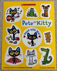 NEW Small Sheet of 10 I Love PETE THE KITTY Stickers by James Dean Pete the Cat