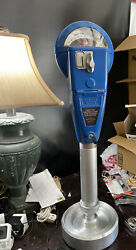 Vintage Blue Duncan 60 Parking Meter With Stand And Key, Working