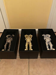 Kaws Holiday Space Figure Gold/black/silver Set In-hand Ships Fast