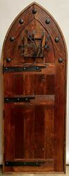 Rustic Reclaimed Lumber Arched Top Door Solid Wood Tudor Wine Cellar Outswing