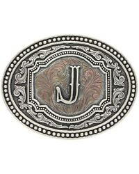 Montana Silversmiths Menand039s Initial J Two-tone Attitude Belt Buckle Silver One