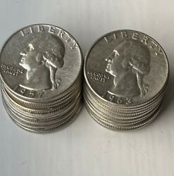 [lot Of 20 Coins] 1/2 Roll - Washington Quarter - 90 Silver - Choose How Many